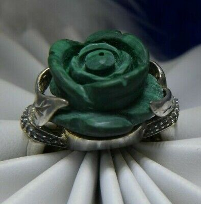 """Vintage 5/8"""" Carved Malachite Rose Sterling Silver 0.925 COCKTAIL RING size 5"""