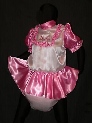 R61*Adult Baby Sissy SATIN dress with sewn in diaper panty*kleid & Spreizhose