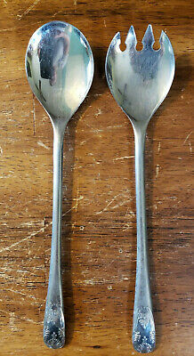 """Vintage Silver Plate Italy Serving Salad Spoon and Fork Set 9 1/4"""" long"""