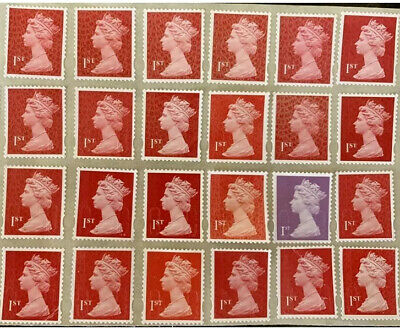 Gb 30 Unfranked First Class 1St Security Stamps Off Paper With Gum Self Adhesive