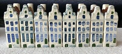 Vintage Delft Blauw Blue Row House Set of 8 Hand Painted Made in Holland