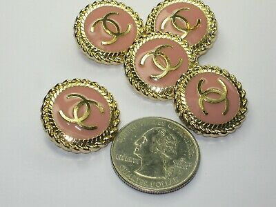 CHANEL 5 matte gold pink BUTTONS  sz 22mm metal  cc logo, 5 pc * STAMPED *
