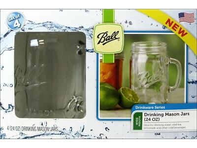 4 Pack Ball 1-1/2 Pint Clear Mason Jars Party Drinking Mug Glasses W/Handle 24Oz