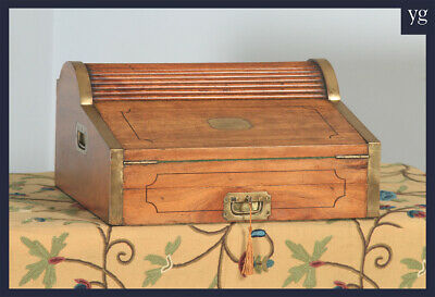 Antique Victorian Colonial Camphor Wood & Brass Rolltop Metamorphic Writing Box