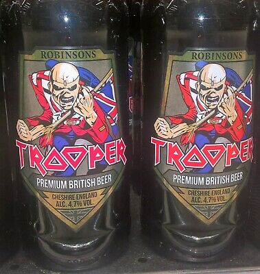 IRON MAIDEN TROOPER EMPTY BEER BOTTLE WITH CAP PINT GLASS TIN