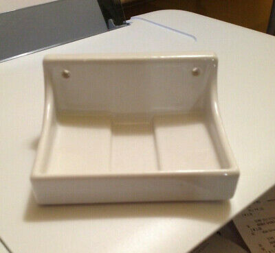 Vintage Old Porcelain Bright White Wall Screw Mount Soap Dish Holder Art Deco
