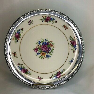 Wallace Sterling Silver Repousee Rimmed Lenox Rose Porcelain Plate