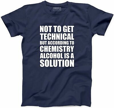 Alcohol is Solution Funny TShirt Chemistry Beer Drinking Party Drunk Whiskey Tee