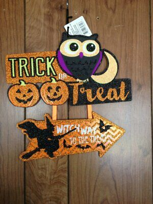 "TRICK OR TREAT WITCH WAY OWL Wall Door Hanging Sign 11"" X 11"" Halloween Decor"