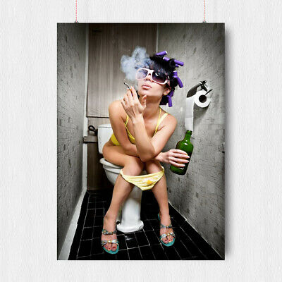 Sexy Girl On The Toilet Smoking Poster Rock And Roll Style Size- A3 A4