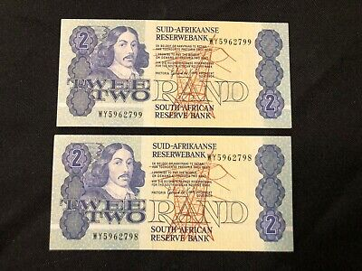 PAIR South Africa 2 Rand 1983 -1989 Replacement WY banknotes UNC comsecutive