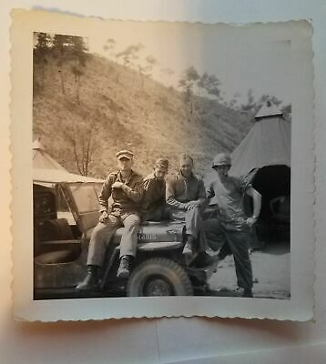 Vintage Photograph WW2 Four Soldiers on a Jeep Photo Korea? WWII