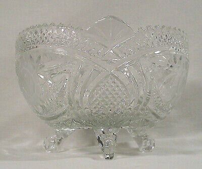 Lead Crystal Etched Glass Serving Bowl 3 Footed Dish, Flowers & Saw Tooth Trim
