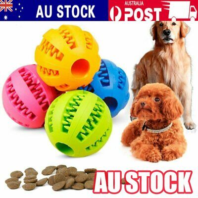 Dog Chew Ball Toy Rubber Dental Clean Teeth Healthy Treat Gum Bite Puppy Pet AU%