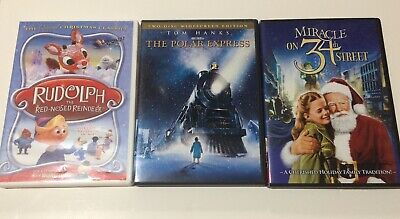 3 Christmas Classics Movie Lot ~ Rudolph Polar Express Miracle On 34th Street