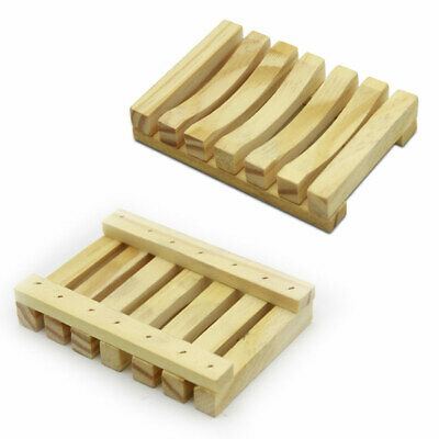 2pcs Special Bamboo Wooden Storage Soap Dish Tray Stand Bathroom Holders Durable