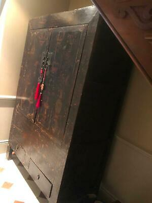 Black Lacquer Chinese San Shi Cabinet