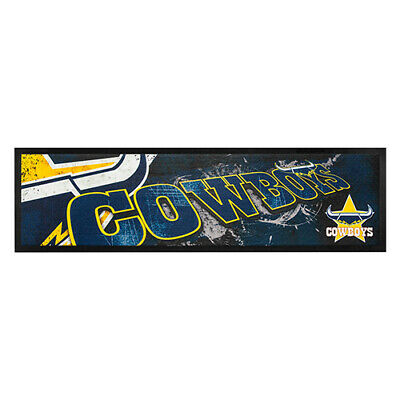 NRL NORTH QUEENSLAND COWBOYS RUGBY RUBBER BACKED BAR RUNNER 90cm x 25cm