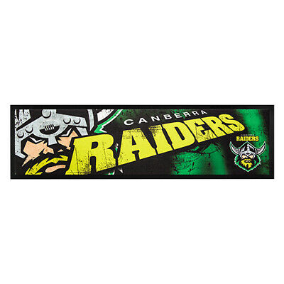 NRL CANBERRA RAIDERS RUGBY RUBBER BACKED BAR RUNNER 90cm x 25cm