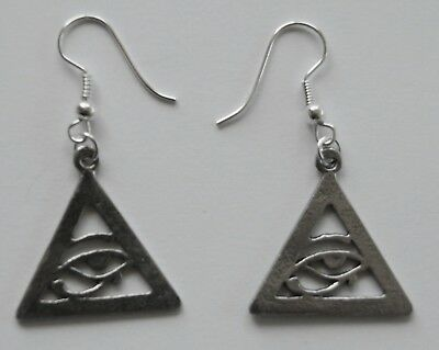 Earrings #124 Pewter Eye of Horus Ra Udjat Egyptian Pendant 22mm drop