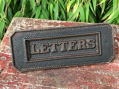 Antique Vintage Late Victorian Cast Iron Letter Box Letters Post Spring Flap