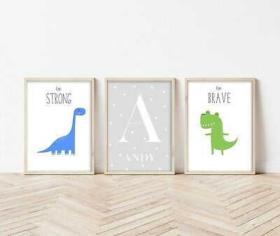 3 Personalised Modern Dinosaur Prints Wall Art Decor Kids Boys Room Pictures