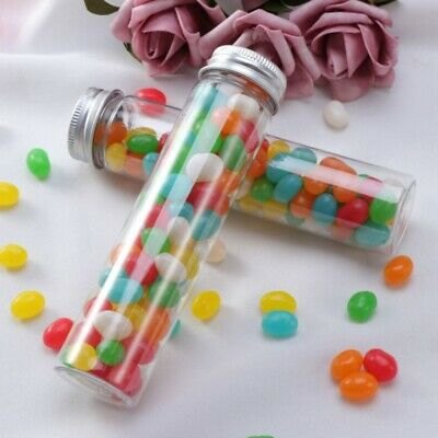 10/12/15Pcs 110 ml Plastic Flat-bottomed Test Tubes Screw Caps Travel Containers