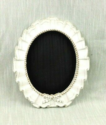 Wall Mirror Oval Ribbon Bow Detail Corded Trim Hand Painted White Gold Resin Vtg