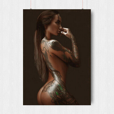 Hot Sexy Woman Tattooed Girl Poster Adult Erotic Print   A4 A3 Size
