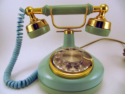 Vintage French style Rotary dial Phone Turquoise and gold with cords