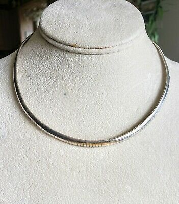 """ITALY 925 Sterling Silver OMEGA Necklace Choker-Pendant Necklace 16"""" x 7mm"""