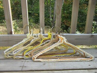 Vintage Crocheted Hangers- White, Brown, Lot of 17