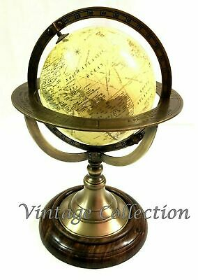 Vintage Antique World Globe Map Ornament on Wooden Base Nautical Table Top Decor