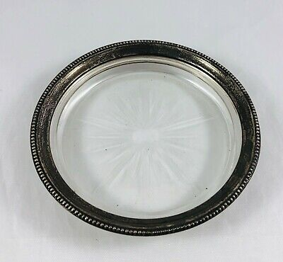 Antique Frank M Whiting Sterling Silver Rim Glass Wine Bottle Coaster