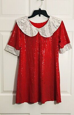 Annie Costume Dress Halloween Stage Red White Sequin Girls Size Large