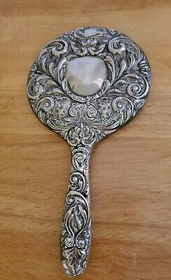 Vintage Antique Beautiful Vanity Ornate Hand Mirror Silver Plated 9 1/2""