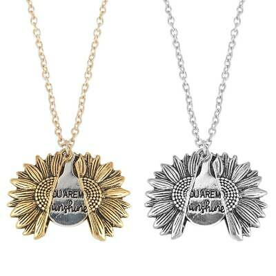 You Are My Sunshine Open Locket Sunflower Pendant Necklace Gift For Women Girls