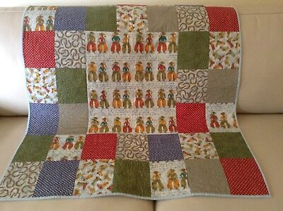 Quilt cot/ play mat Cowboy theme Boy Handmade One only gift Machine quilted