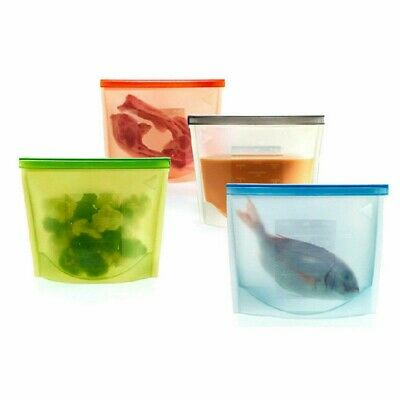 8/12/16x Reusable Silicone Food Storage Bags Container Preservation Zip Lock
