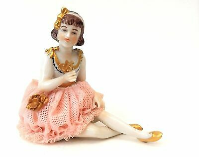 Antique Art Deco Muller Volkstedt German Dresden Lace Seated Ballerina Figurine
