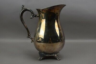 Vintage Wm Rogers 817 Silver Plate Footed Beverage Water Pitcher