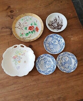 6 collectable small plates.. GLADSTONE POTTERY, 2 JAPANESE, 3 miniature saucers