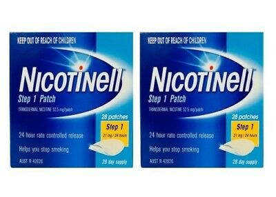 NC 2 x Nicotinell Step 1 Patch 21mg 24 Hours 28 Day Supply Quit Smoking Patches