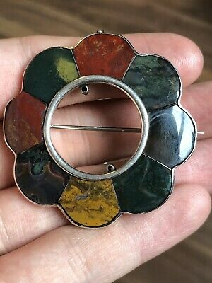 Stunning Antique Solid Silver Scottish Hardstone Brooch