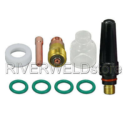 TIG Stubby Gas Lens  Pyrex Cup Kit For DB SR WP 17 18 Torch Welding Accessory 9p