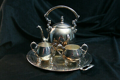 Antique Sheridan Silver Coffee / Tea set. Copper Plate. Monogrammed with S