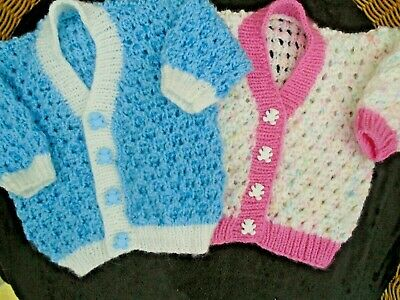 * NEW * HAND KNITTED BABY CARDIGANS 0 - 3 MONTHS - WHITE & PINK or  BLUE & WHITE