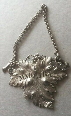 Rare William Iv Solid Silver Vine Leaf Decanter Label Madeira. London 1828 B109.