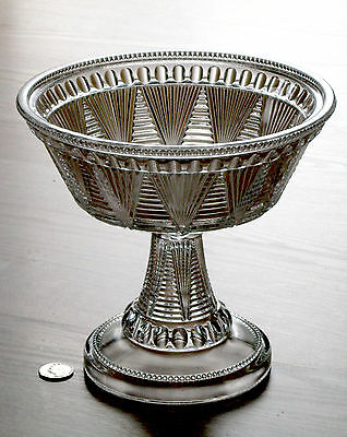 antique EAPG glass COMPOTE pleat & tuck ADONIS Washboard MCKEE & BROS. 1897