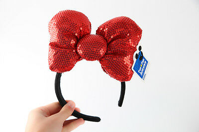Disney Parks Minnie Mouse Red Sequin Headband - Ears Costume Bow Hat